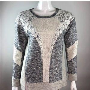 REBECCA TAYLOR M Melange Gray Sweater Shirt $350